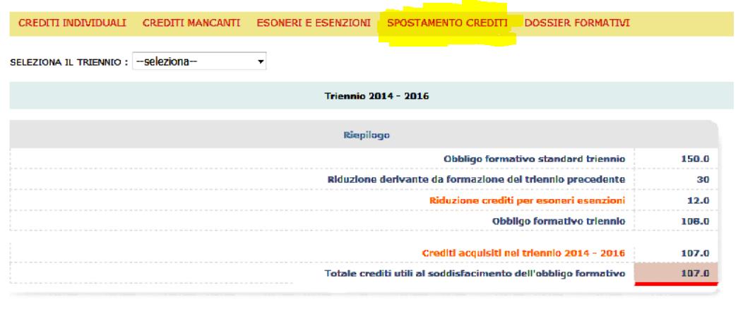 Cliccare su spostamento crediti