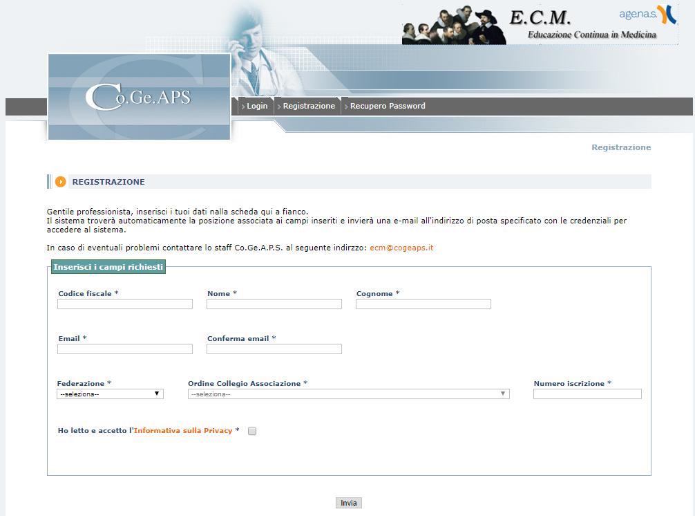 Cogeaps - Registrazione
